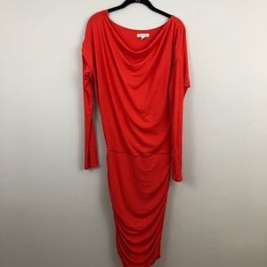 Athleta   Pink Long Sleeve Dress Ruched Side